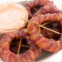 Smoked Bacon Wrapped Onion Rings - Spicy Sriracha Onion Rings