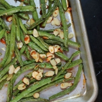 Garlic Roasted Green Beans with Almonds - Emily Bites