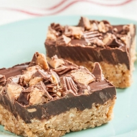 Chocolate Peanut Butter Crispy Bars - Chew Out Loud
