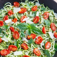 Pesto Zucchini Noodles with Roasted Tomatoes and Grilled Chicken on Closet Cooking