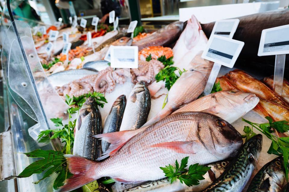 魚がたくさん売られている
