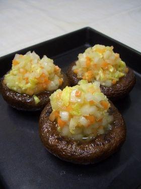 6、こんもり野菜の椎茸ステーキ