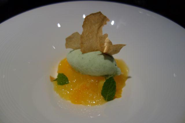 柑橘とコアントローのジュレ バジルのアイスクリーム/¥700