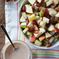 Autumn Fruit Salad with Cinnamon Greek Yogurt Dressing - Kitchen Treaty