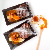 Belgium Waffles and Salted Caramel Sauce Recipe - Little Miss Bento