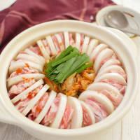 キムチでうま辛!豚バラ肉と大根のミルフィーユ鍋