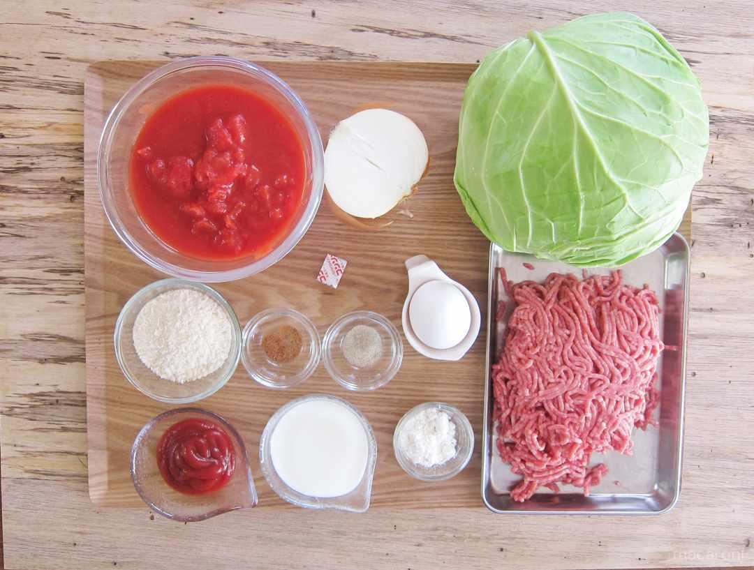 ロールキャベツのトマト煮の材料